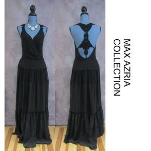 NEW Max Azria Collection Silk Gown Crochet Back